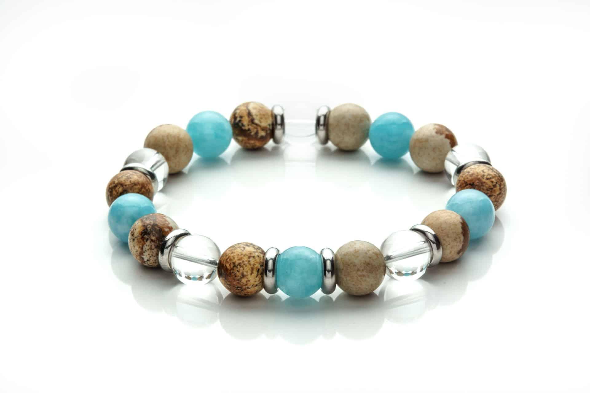 Men Bracelet Crystal Quartz, Jasper, Aqua Marine