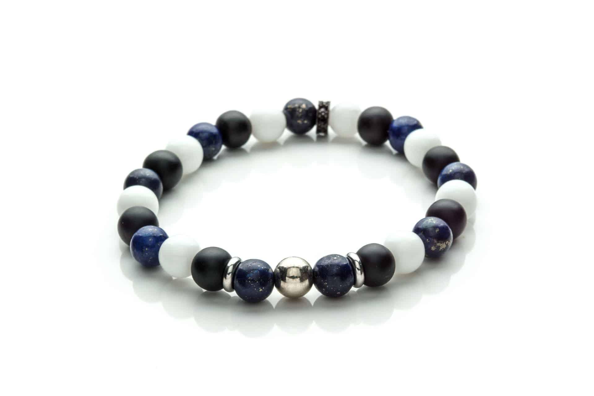 Men Bracelet Onix, Milk Crystal, Laspis Lazuli