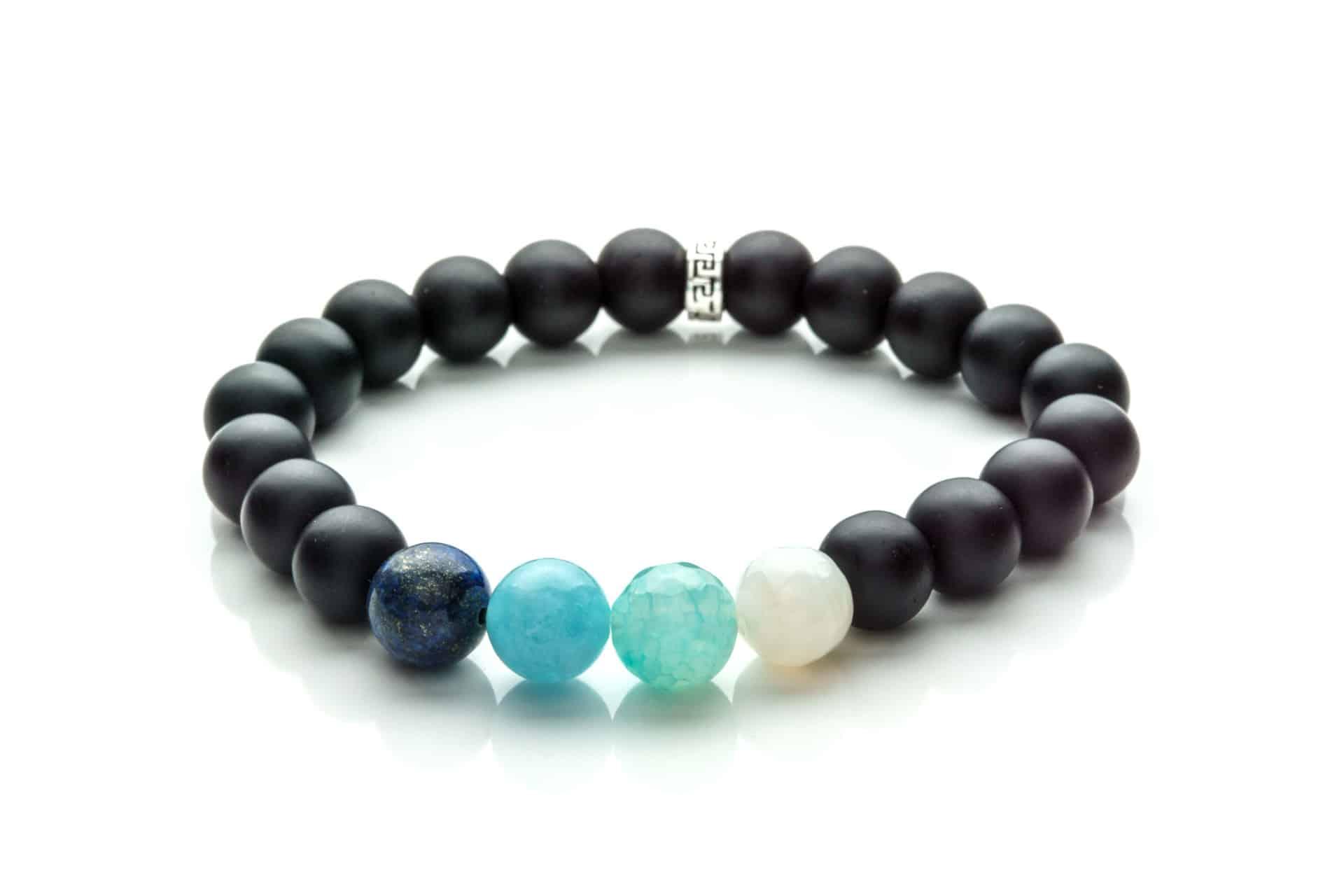 Men Bracelet Onix, Lapis Lazuli, Aqua Marine, Agatha