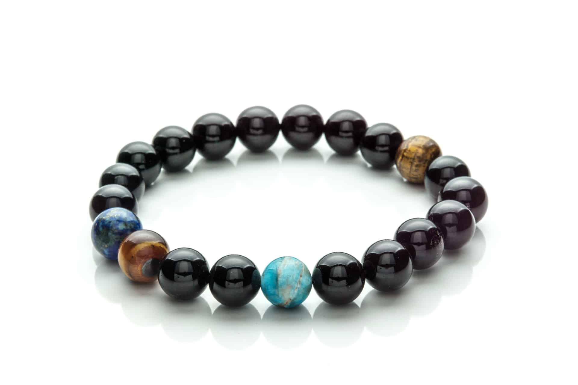 Men Bracelet Tiger Eye, Onix, Lapis Lazuli, Apatite